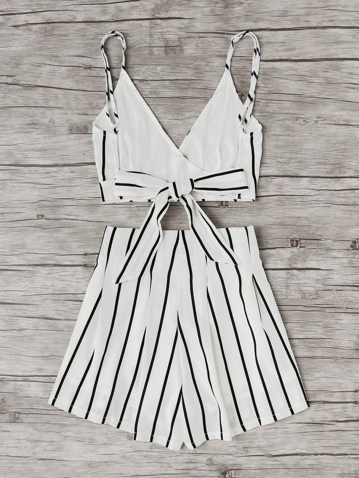 Stripe Surplice Bow Tie Open Back Crop Cami Top With Shorts -SheIn(Sheinside)