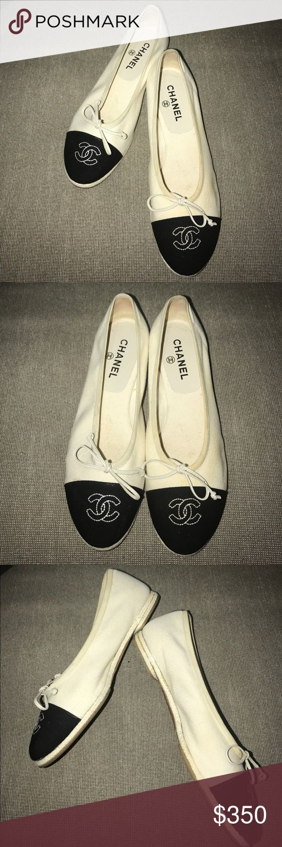 💯% Authentic CHANEL flats Preowned Chanel flats. The only flaw is a bit of discoloration on the outside of the left shoe. Oddly, this issue is only really visible under a flash. In reg daylight, you can't see it too well. These shoes are a re-posh. I bought 2 pair of CHANEL flats & learned the hard way that CHANEL runs very small. 39 usually fits my size 8 foot, but in CHANEL I need a 39.5 ❌PP ❌Taking transactions off posh. 🎥I video record all sales from packaging to shipping, so we are…