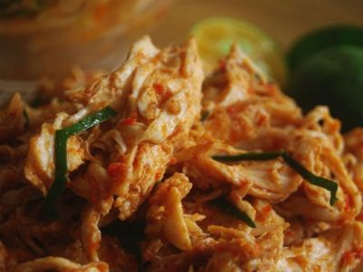 Ayam Pelalah Shereded Chicken with Chillies & Lime