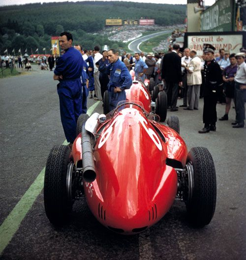 1954 Ferraris lined up in the pits at Spa Francorchamps