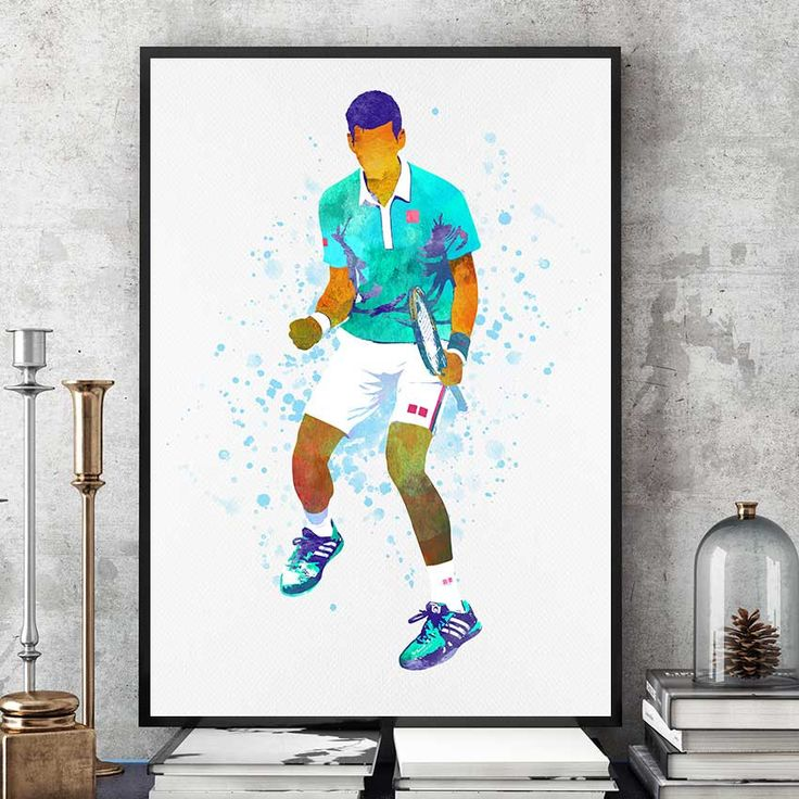 Novak Djokovic Poster, Novak Djokovic Print, Nole Fan Art, Tennis Gifts,  Novak Djokovic Art, Tennis Champion Print, Sports Prints (N036) by PointDot on Etsy
