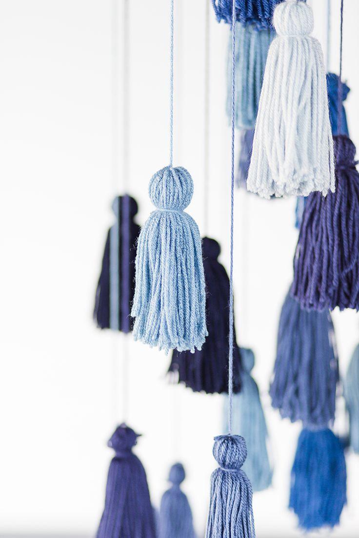 Blue monochromatic tassel installation