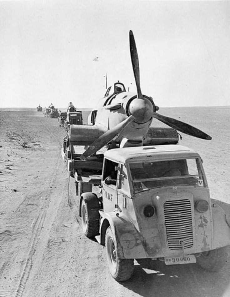 Hawker Hurricane being transported for repairs outside of Cairo/Egypt, 1942