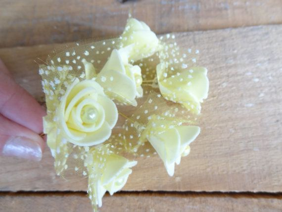 Yellow  Rose Wedding Hair Pins Ivory Bridal Hair Pins Hair
