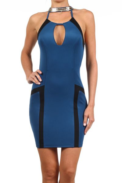 Vixen By Night Bodycon Halter Dress in Blue/Black AUD$77.80 + Free express shipping