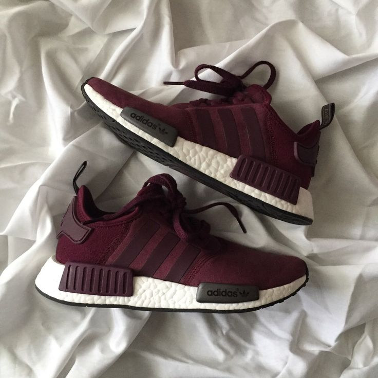 Adidas Originals NMD Suede sneakers in maroon. Women's size but will best  fit a Worn or less. Only signs of wear are on the toe on the left shoe.