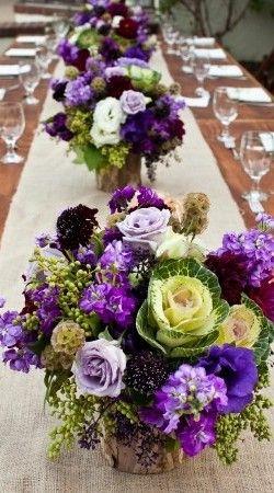 Aubergine-Cabbage-Burlap-Wedding-Reception-Centerpieces Slightly obsessed with burlap!