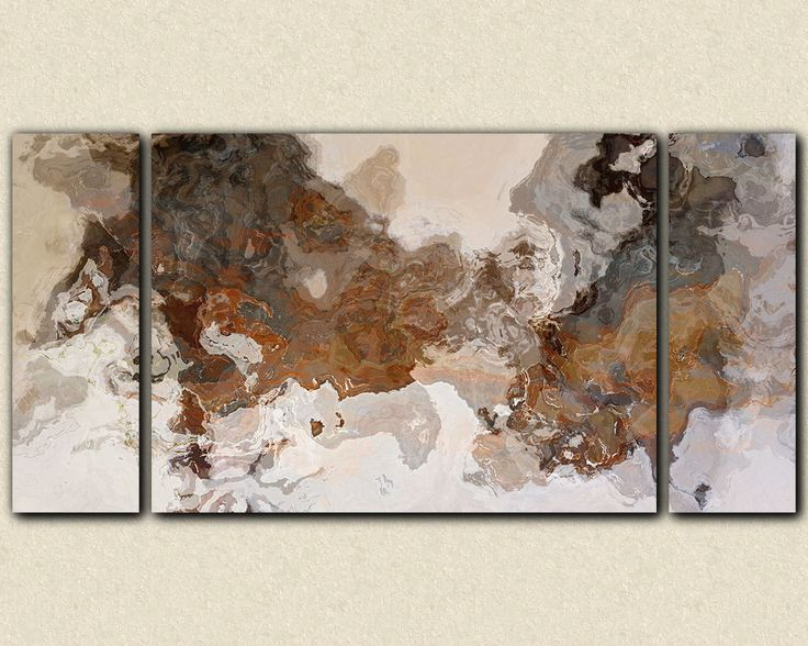"""Oversize triptych abstract art 30x60 to 40x78 stretched canvas print, in earthy brown and grey, """"Ball and Chain"""""""