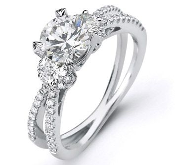 Simon G Butterfly Pave Diamond Engagement Ring