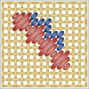 The Moorish Stitch is a needlepoint filling stitch worked in stepped, diagonal rows.: Working the Moorish Stitch