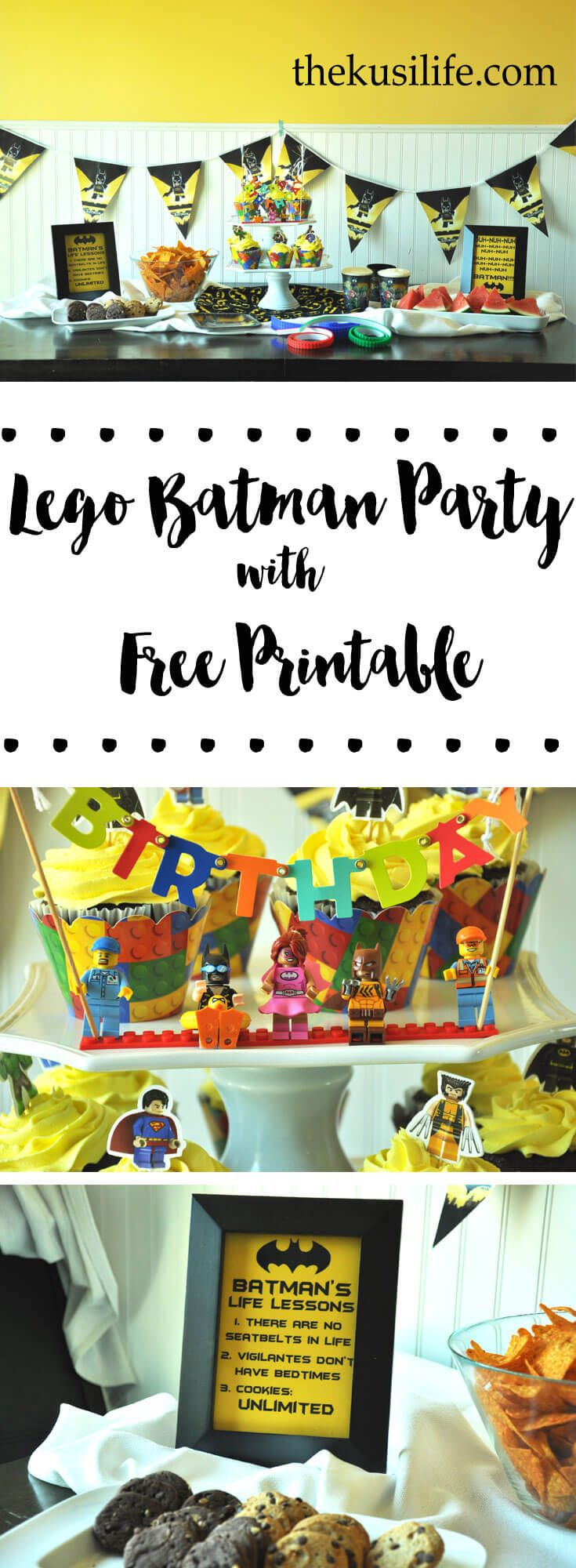 Lego Batman Movie Party & Free Printables - The Master Builders in your life will love this party theme! Fun ideas for a simple, yet epic party along with 2 free printables - thekusilife.com via @thekusilife