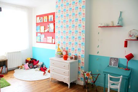 beautiful little boy room, in white, pale blue and red, love it !!