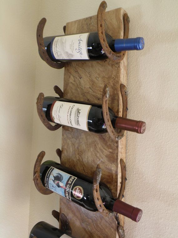 Live edge spalting maple horseshoe wine rack by RopedOnCedar