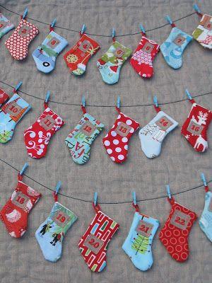 DIY 3 verschiedene Adventskalender zum nähen: Nikolaussocke, Nikoluasmütze und klassisch aus Taschen