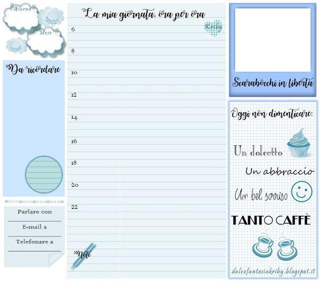 Planner giornaliero: un pratico organizer pronto da stampare! Free download.  *Dolce Fantasia Kriby*