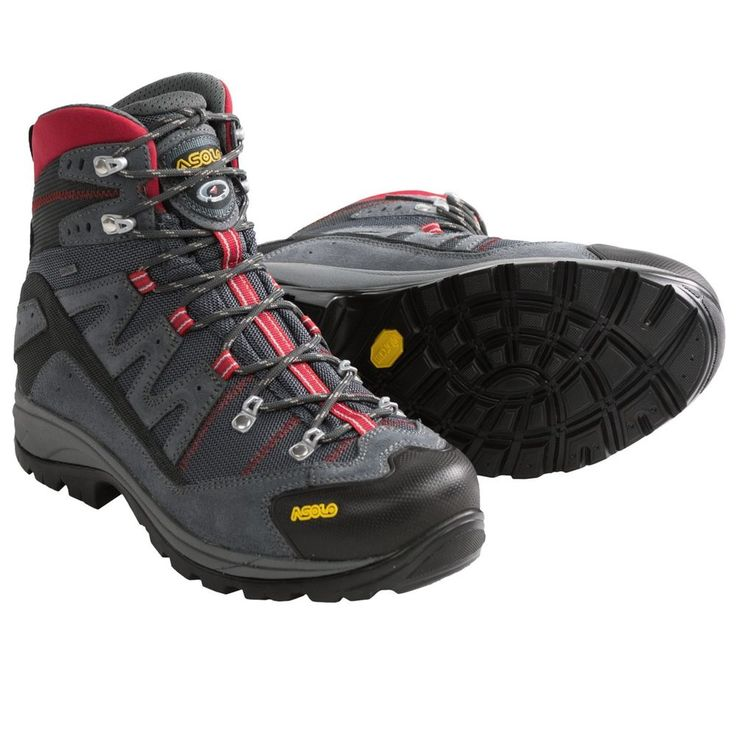 Men's ASOLO NEUTRON GORE-TEX HIKING BOOTS -  Waterproof - Gunmetal/Red  Sz 10W  #Asolo #HikingTrail