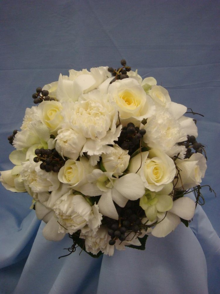 posy style white roses lizzy and orchids