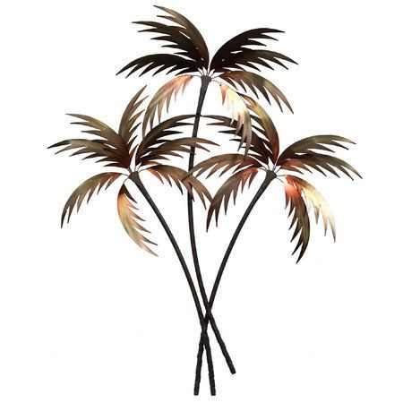 "Gentle Palms Metal Wall Sculpture: As a sweet, tropical breeze sets the Gentle Palms to swaying, it's hard to imagine a more perfect paradise. This metal wall sculpture depicts a stylized palm tree trio in an eye-catching, abstract design. Tropical wall art is hand-finished in warm, metallic tones of golden bronze. Palm tree wall sculpture measures approx. 42""x53""."