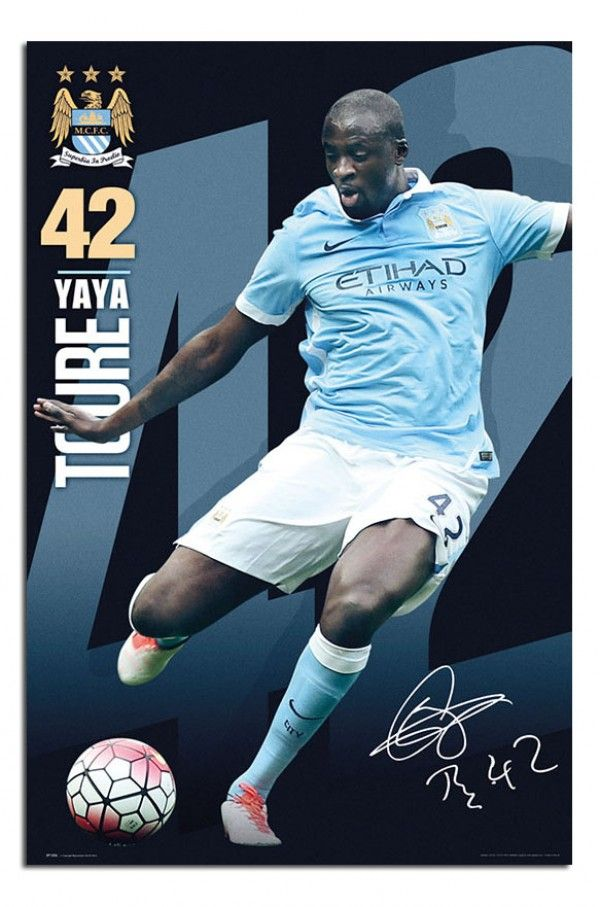 Manchester City Yaya Toure 2015 / 16 Poster   iPosters