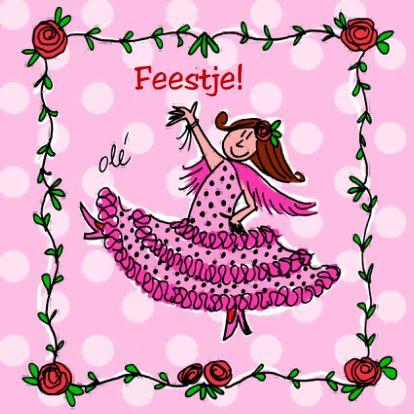 Uitnodigingskaart kinderfeestje. Flamenco feestje! Leuke uitnodiging voor meisjes die van Spaanse jurken en polka dots houden!