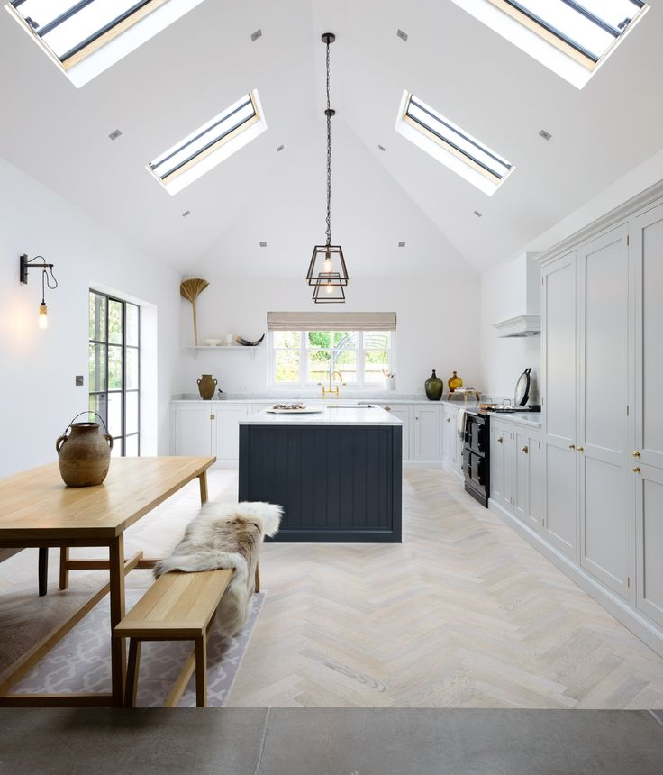 A beautifully big and bright deVOL Shaker kitchen painted in Damask and Pantry Blue with brass details and a lovely parquet floor. ¿Who Else Wants Simple Step-By-Step Plans To Design And Build A Container Home From Scratch? http://build-acontainerhome.blogspot.com?prod=LqOVvXNF
