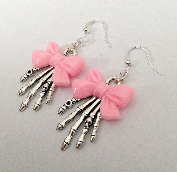 Pink Skeleton Bow Earrings by TeacupRose on Etsy
