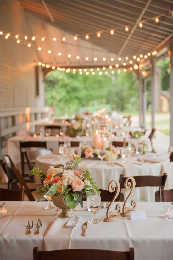 twinkle lights | porch reception | lighting ideas | romantic lighting | peach wedding | #weddingchicks