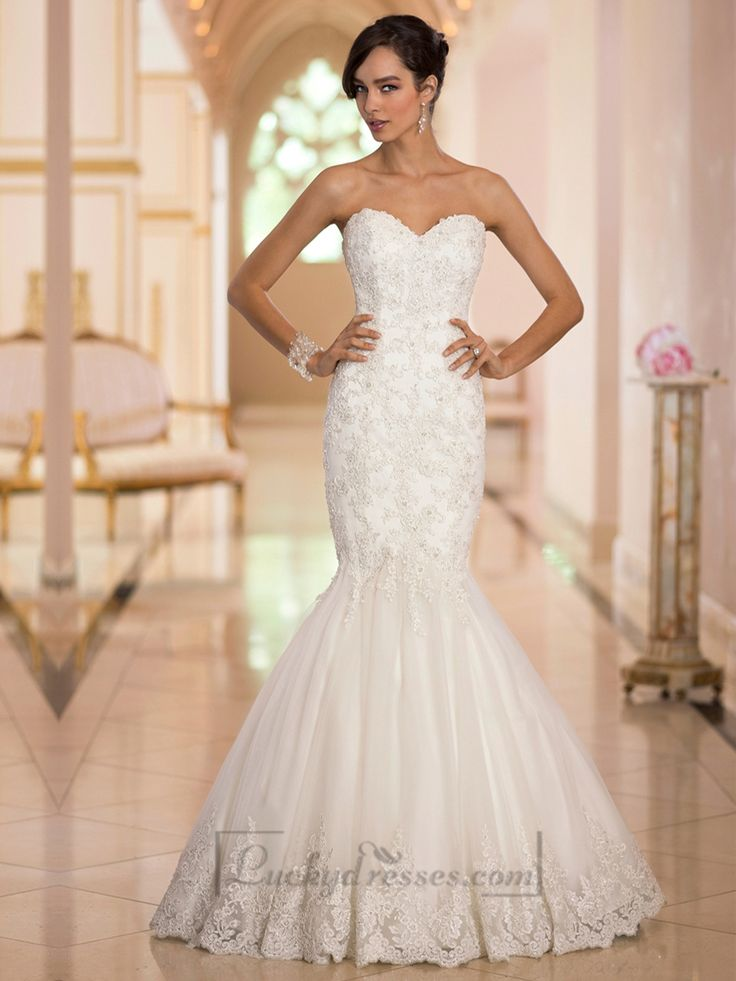 Elegant Sweetheart Handcrafted Lace Appliques Mermaid Designer Wedding Dresses