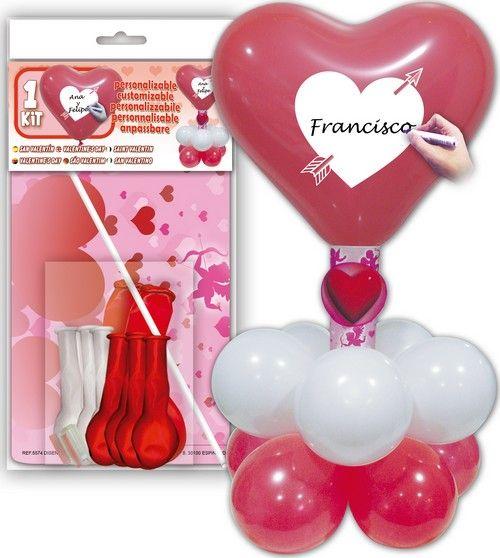 Kit globos corazones rojos y blancos personalizables