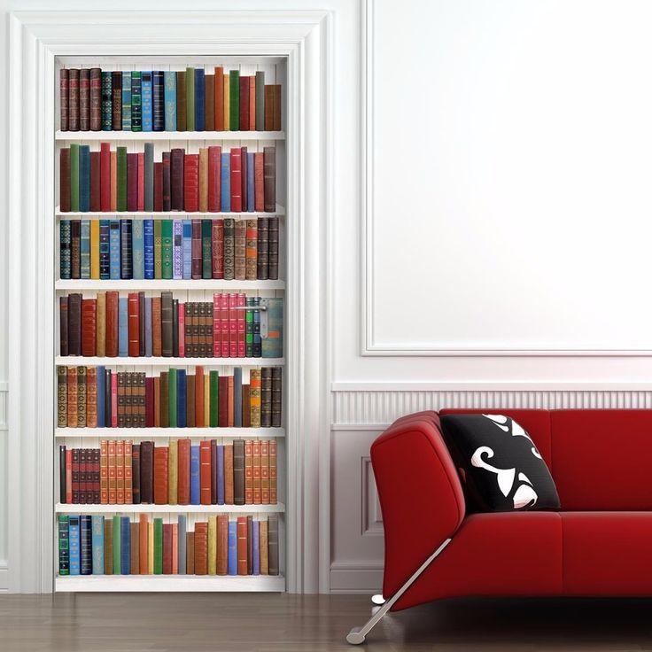 Darmowa wysyłka 3D książki półki Drzwi Drzwi PCV Wodoodporne Naklejki Naklejki Ścienne Sypialnia Home Decor Plakat 77x200 cm