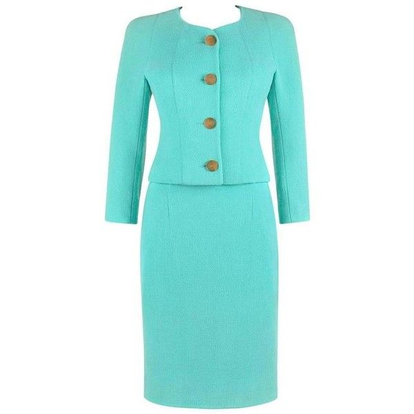 Preowned Balenciaga Le Dix A/w 1991 Seafoam Green Wool Blazer Jacket... (50,180 DOP) ❤ liked on Polyvore featuring suits, green and skirt suits