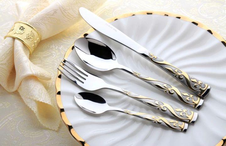 Купить товар24 шт. нержавеющей стали столовые приборы комплект позолоченные столовые приборы комплект посуды посуда серебро ужин вилка ложка нож в категории Наборы тарелокна AliExpress.         1.   Мы отправим на указанный адрес в течение 1 ~ 7 дней,  Если вы хотите челнока или изменить адрес,  Пож
