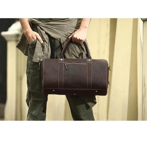 ROCKCOW Leather Travel Bag For Men Weekend Bag Holdall Bag 8642