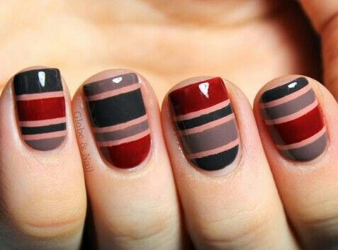 Sexy Black, dark red and grey stripped nail polish