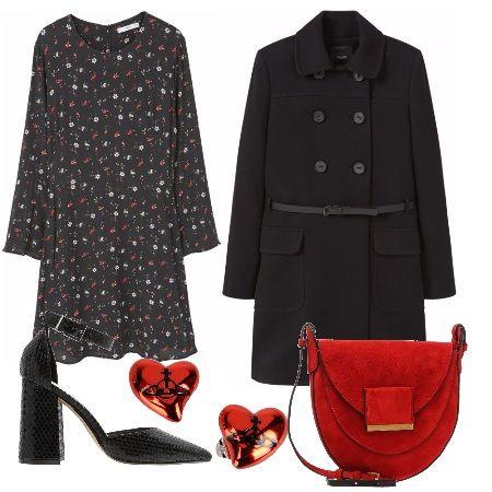 Oggi mi sento romantica e bon ton, per questo ho realizzato per voi questo outfit: cappottino nero con cintura da indossare sopra allabitino stampato. Gli accessori sono super femminili: décolleté con cinturino, orecchini a forma di cuore e splendida borsa rossa. Aggiungete un rossetto rosso fuoco e sarete bellissime.