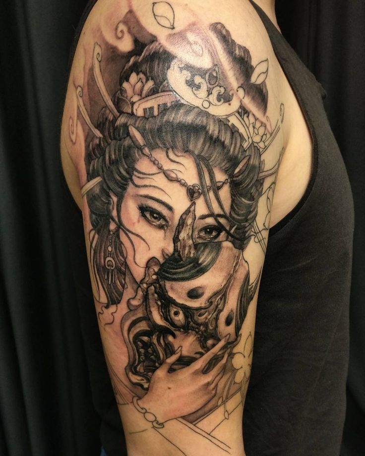 Hannya Mask Girl Tattoo: Geisha And Hannya In Progress. #chronicink #asiantattoo