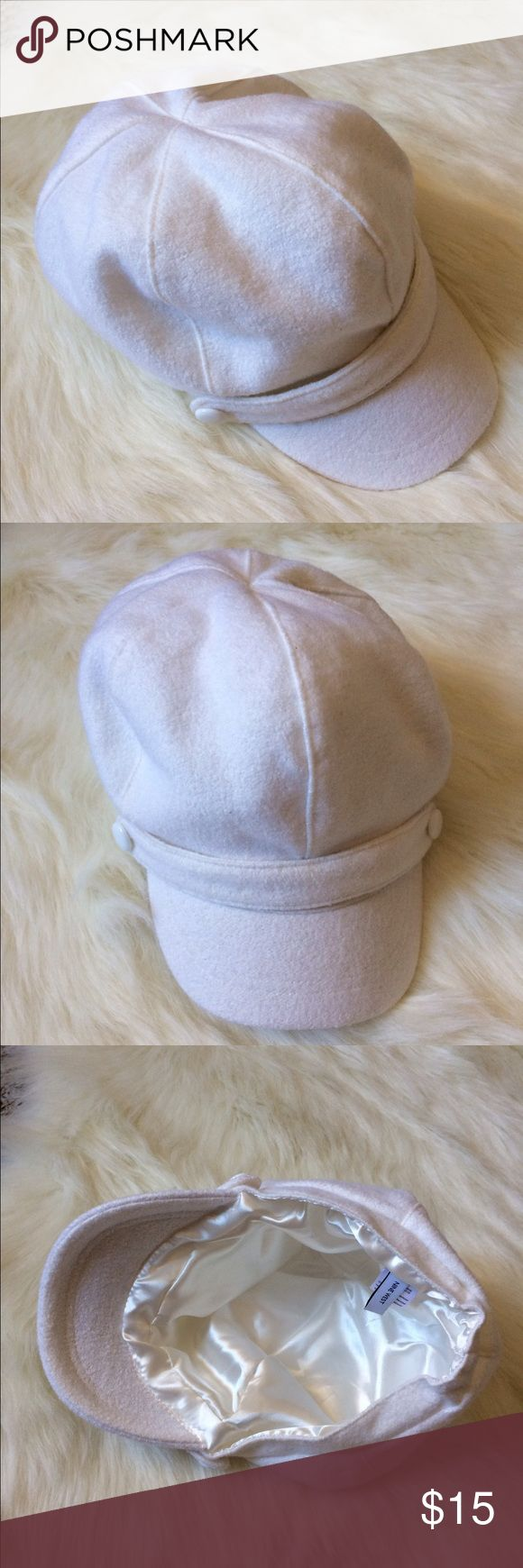 """Ivory page boy wool visor hat Wore once. Too big for me. 8"""" diameter. Slouchy fit. Ivory color. Satin lining. Some stretch in band. No stains. Best for spring, fall, or winter. By nine West Nine West Accessories Hats"""