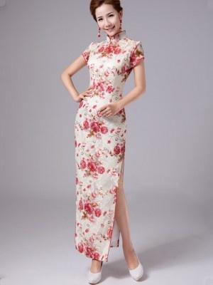 Floral Full-length Cheongsam / Qipao / Chinese Evening Dress