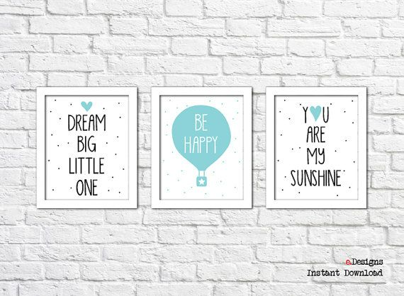 Printable Nursery Wall Art Set of 3Printable Hot Air by eDesignss