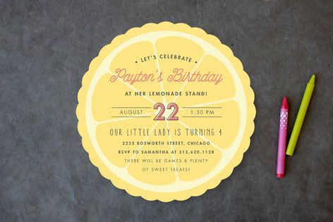 Lemonade Stand Children's Birthday Party Invitations by Carolyn Nicks at minted.com