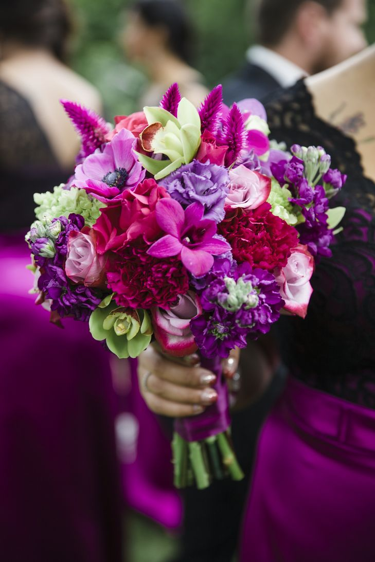 Bold purple bridesmaid bouquet with roses, orchids, carnations, and hydrangeas   Forever in Bloom Floral   Lace I Hanky Photography, LLC   http://knot.ly/6491BZml7