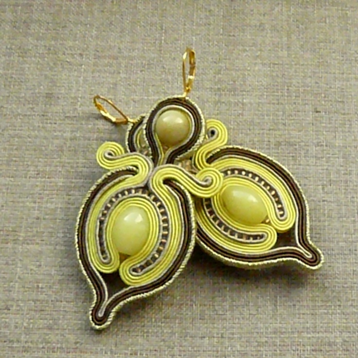 yellow, beige and gold, soutache earrings