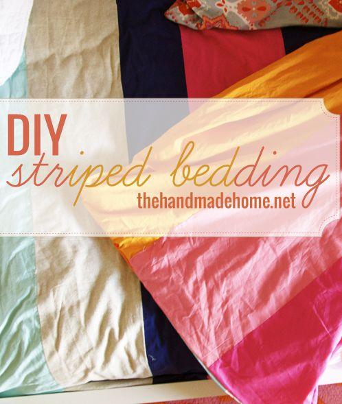 striped bedding diy
