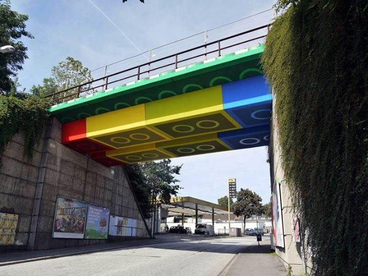 3D street art, Lego bridge in Germany.