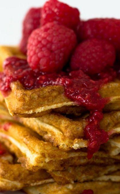hazelnut waffles with raspberry syrup