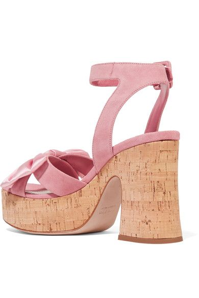 Miu Miu - Satin-trimmed Suede And Cork Platform Sandals - Baby pink - IT35.5