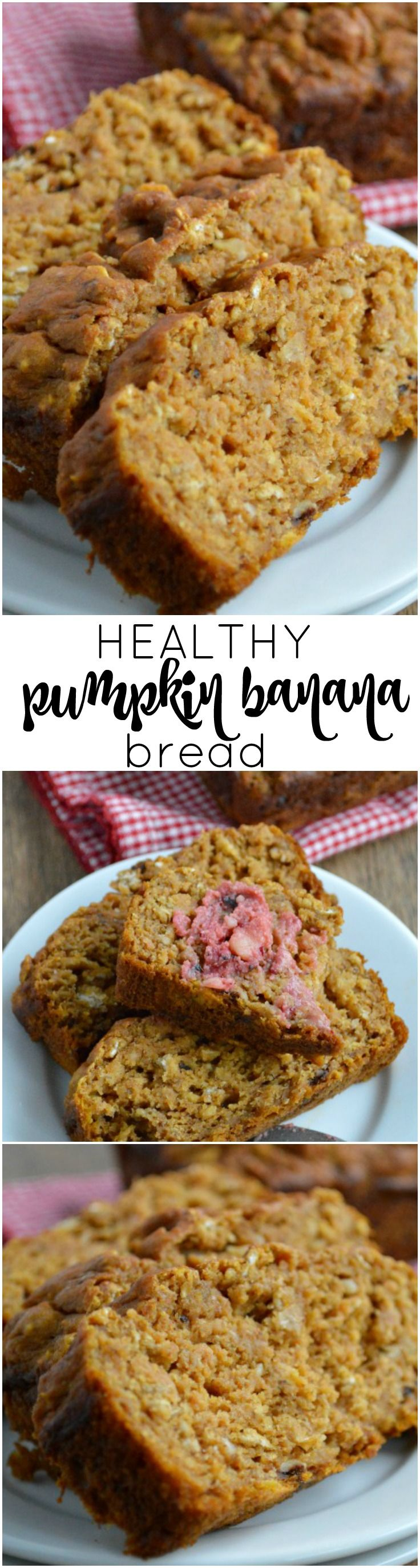 Moist quick bread with a tender crumb that's packed full of fruit and flavor. Healthy Pumpkin Banana Bread uses applesauce, bananas, and pumpkin in place of butter and has only 1/2 cup brown sugar in the whole recipe!