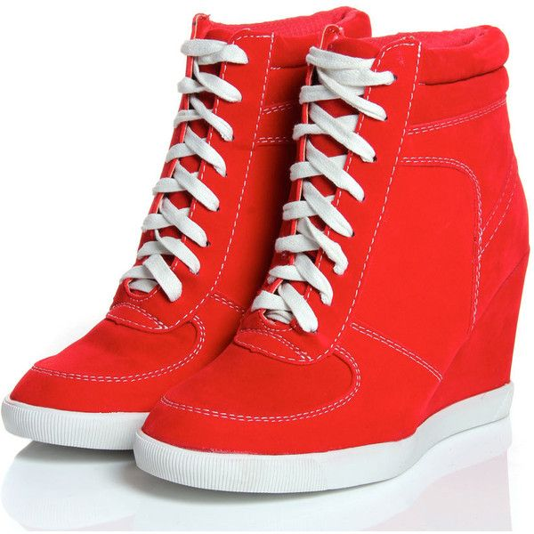 Elyssia Red Suedette Lace Up Hi Top Wedge ($60) ❤ liked on Polyvore featuring shoes, sneakers, heels, sapatos, wedges, red wedge sneakers, red sneakers, high top wedge sneakers, wedge sneakers and high wedge sneakers