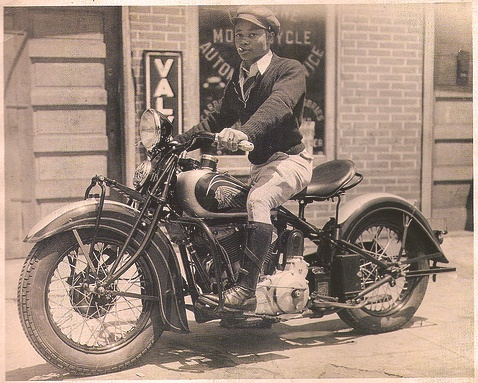Black History Vintage Indian Scout Motorcycle Rider A