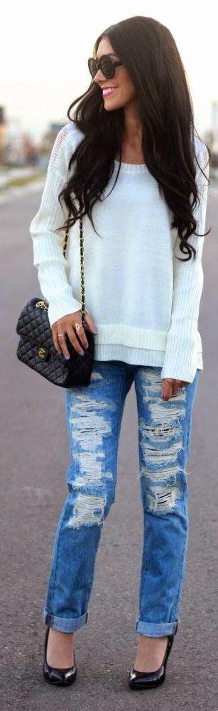 Blue Schredded Denim Boyfriend Jeans